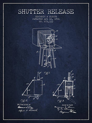 Camera Digital Art - 1901 Shutter Release Patent - Navy Blue by Aged Pixel