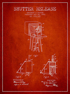 Camera Digital Art - 1901 Shutter Release Patent - Red by Aged Pixel