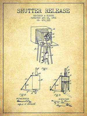 Camera Digital Art - 1901 Shutter Release Patent - Vintage by Aged Pixel