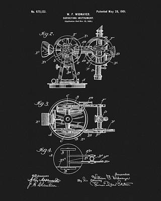 Mixed Media - 1901 Surveying Device Patent by Dan Sproul