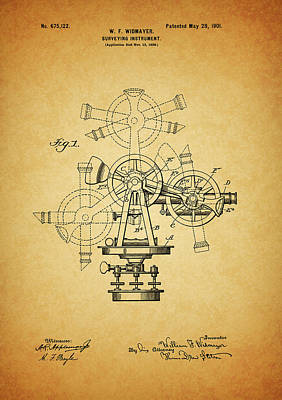 Mixed Media - 1901 Surveying Instrument Patent by Dan Sproul