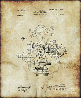 Photograph - 1901 - Surveying Instrument Patent - Vintage by Doc Braham
