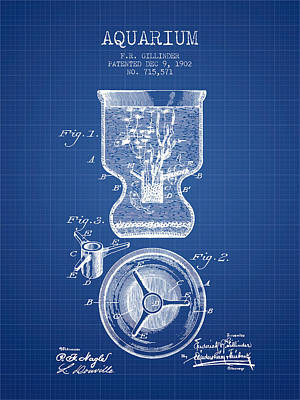 1902 Aquarium Patent - Blueprint Art Print by Aged Pixel