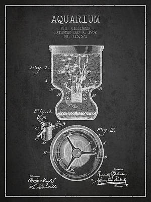 Reptiles Royalty-Free and Rights-Managed Images - 1902 Aquarium Patent - Charcoal by Aged Pixel