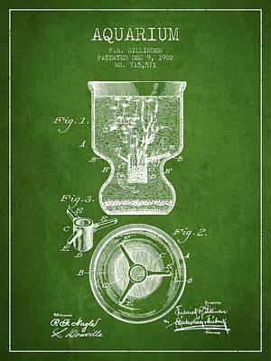 1902 Aquarium Patent - Green Art Print by Aged Pixel
