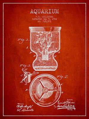Animals Digital Art - 1902 Aquarium Patent - Red by Aged Pixel