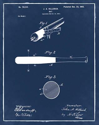 Sepia Chalk Digital Art - 1902 Baseball Bat Patent In Blue by Bill Cannon
