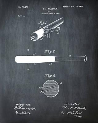 Sepia Chalk Photograph - 1902 Baseball Bat Patent In Chalk by Bill Cannon