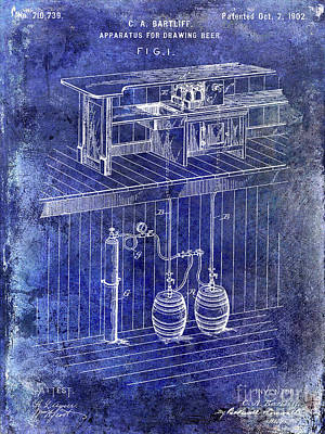 1902 Beer Draft Patent Blue Art Print