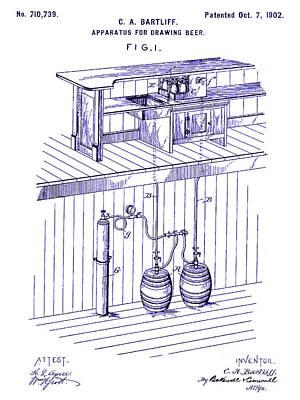 Stein Photograph - 1902 Beer Draft Patent Blueprint by Jon Neidert