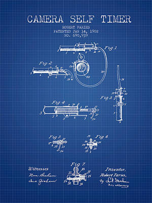 Camera Digital Art - 1902 Camera Self Time Patent - Blueprint by Aged Pixel