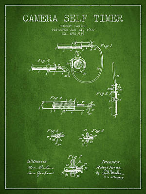 Camera Digital Art - 1902 Camera Self Time Patent - Green by Aged Pixel