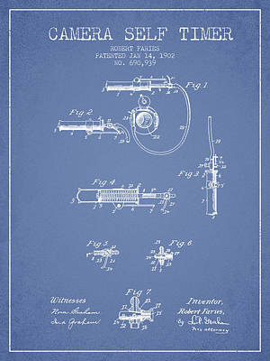 Camera Digital Art - 1902 Camera Self Time Patent - Light Blue by Aged Pixel
