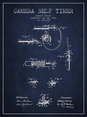 Camera Digital Art - 1902 Camera Self Timer Patent - Navy Blue by Aged Pixel