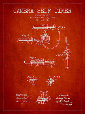 Camera Digital Art - 1902 Camera Self Timer Patent - Red by Aged Pixel