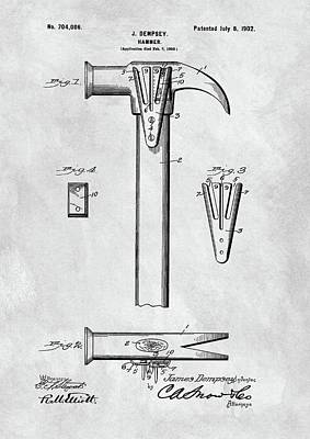 Drawing - 1902 Claw Hammer Patent Illustration by Dan Sproul