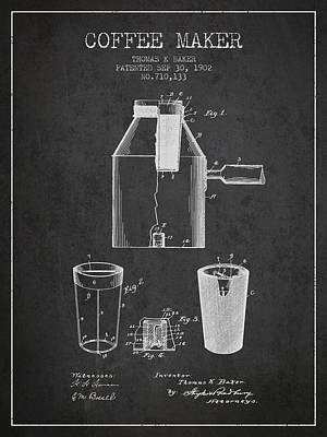 Coffee Maker Drawing - 1902 Coffee Maker Patent - Charcoal by Aged Pixel