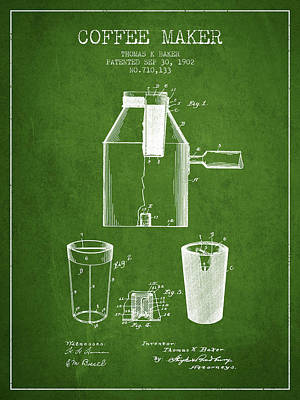 Coffee Maker Drawing - 1902 Coffee Maker Patent - Green by Aged Pixel