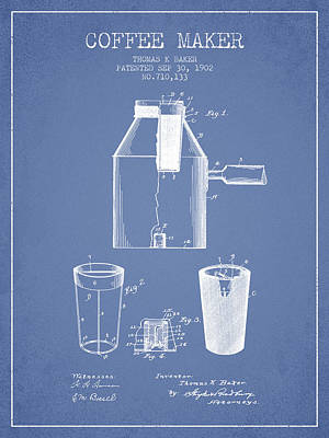 Coffee Maker Drawing - 1902 Coffee Maker Patent - Light Blue by Aged Pixel