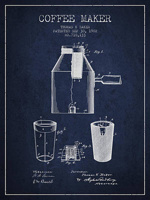 Coffee Maker Drawing - 1902 Coffee Maker Patent - Navy Blue by Aged Pixel