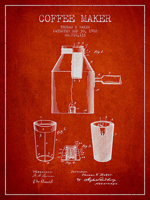 Coffee Maker Drawing - 1902 Coffee Maker Patent - Red by Aged Pixel