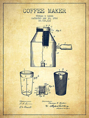 Coffee Maker Drawing - 1902 Coffee Maker Patent - Vintage by Aged Pixel