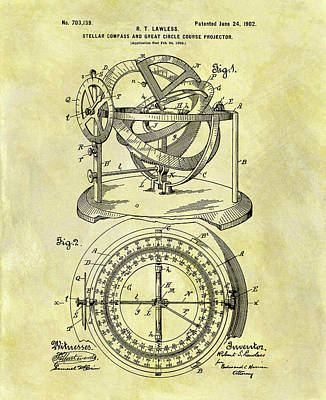 Getaway Mixed Media - 1902 Compass Patent by Dan Sproul
