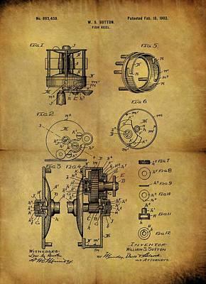 Animals Drawings - 1902 Fish Reel Patent by Dan Sproul