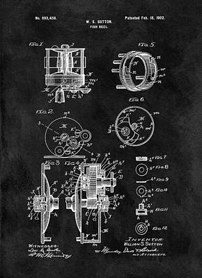 Drawing - 1902 Fishing Reel Patent by Dan Sproul