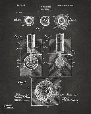 Playing Drawing - 1902 Golf Ball Patent Artwork - Gray by Nikki Marie Smith