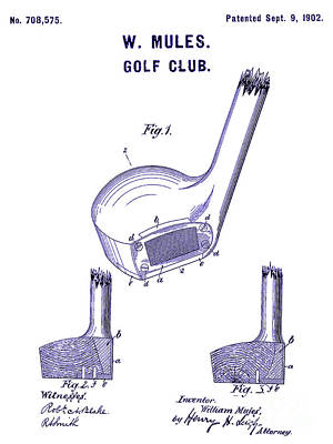 1902 Golf Club Patent Blueprint Art Print