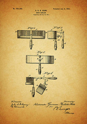 Curly Mixed Media - 1902 Hair Curler Patent by Dan Sproul