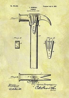 Drawing - 1902 Hammer Patent by Dan Sproul