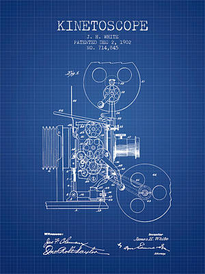 Motion Drawing - 1902 Kinetoscope Patent - Blueprint by Aged Pixel