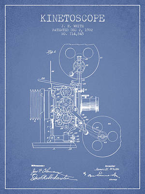 Motion Drawing - 1902 Kinetoscope Patent - Light Blue by Aged Pixel