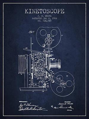 1902 Kinetoscope Patent - Navy Blue Print by Aged Pixel