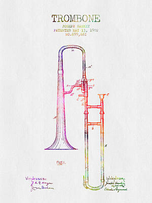 Trombone Drawing - 1902 Trombone Patent - Color by Aged Pixel