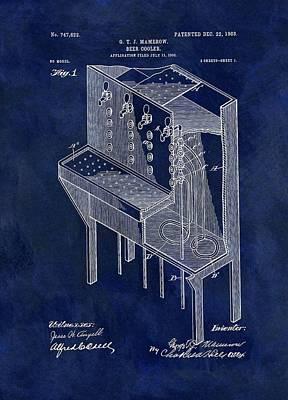 Beer Drawings - 1903 Beer Cooler Patent by Dan Sproul