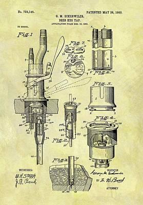 Beer Drawings - 1903 Beer Keg Tap by Dan Sproul