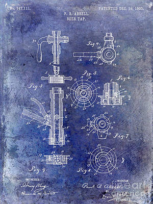 Stein Photograph - 1903 Beer Tap Patent Blue by Jon Neidert