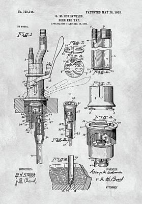 Beer Drawings - 1903 Beer Tap Patent by Dan Sproul