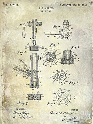 1903 Photograph - 1903 Beer Tap Patent by Jon Neidert