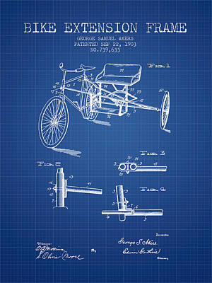 1903 Bike Extension Frame Patent - Blueprint Art Print by Aged Pixel