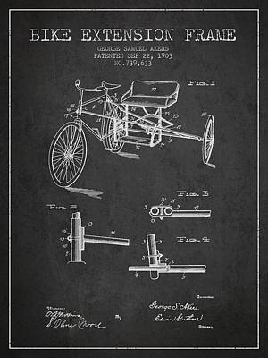 Transportation Digital Art Rights Managed Images - 1903 Bike Extension Frame Patent - Charcoal Royalty-Free Image by Aged Pixel