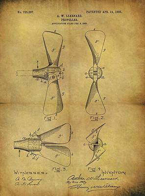 Drawing - 1903 Boat Propeller Patent by Dan Sproul