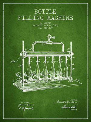 Beer Royalty-Free and Rights-Managed Images - 1903 Bottle Filling Machine patent - green by Aged Pixel