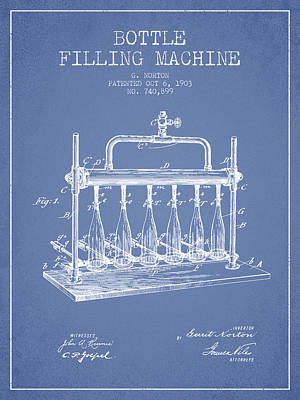 Beer Royalty-Free and Rights-Managed Images - 1903 Bottle Filling Machine patent - light blue by Aged Pixel