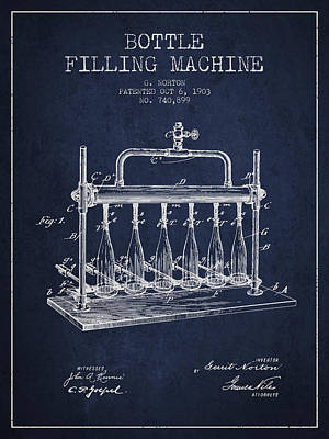 Food And Beverage Digital Art - 1903 Bottle Filling Machine patent - navy blue by Aged Pixel