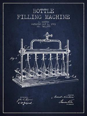 Food And Beverage Digital Art - 1903 Bottle Filling Machine patent - navy blue by Aged Pixel