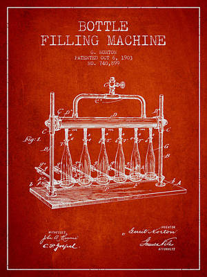 Beer Royalty-Free and Rights-Managed Images - 1903 Bottle Filling Machine patent - red by Aged Pixel